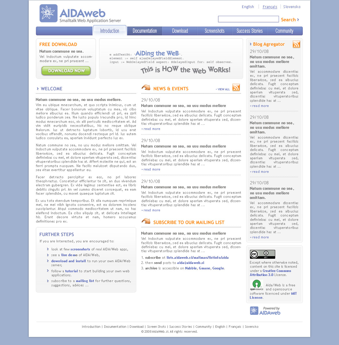 Aida/Web site first page design